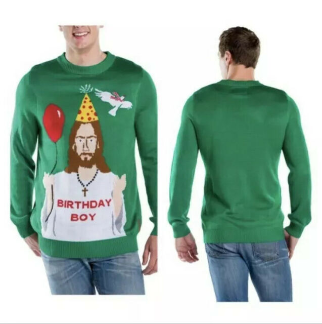 Happy Birthday Jesus Sweater Green Tipsy Elves Mens Ugly