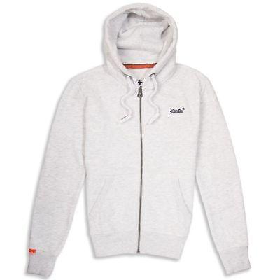 NWT Men/'s Superdry Orange Label Zip Hoodie Sweatshirt drawstring hood ICE Marl