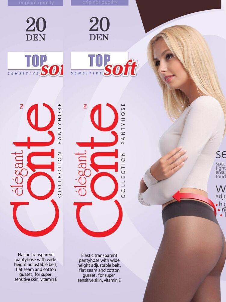 2 Paire Collants Pour Sensibles Peau Avec Un Large Taille Haute 'top Soft 20den'