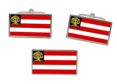 The Netherlands Flag Gold-tone Cufflinks Money Clip Engraved Gift Set