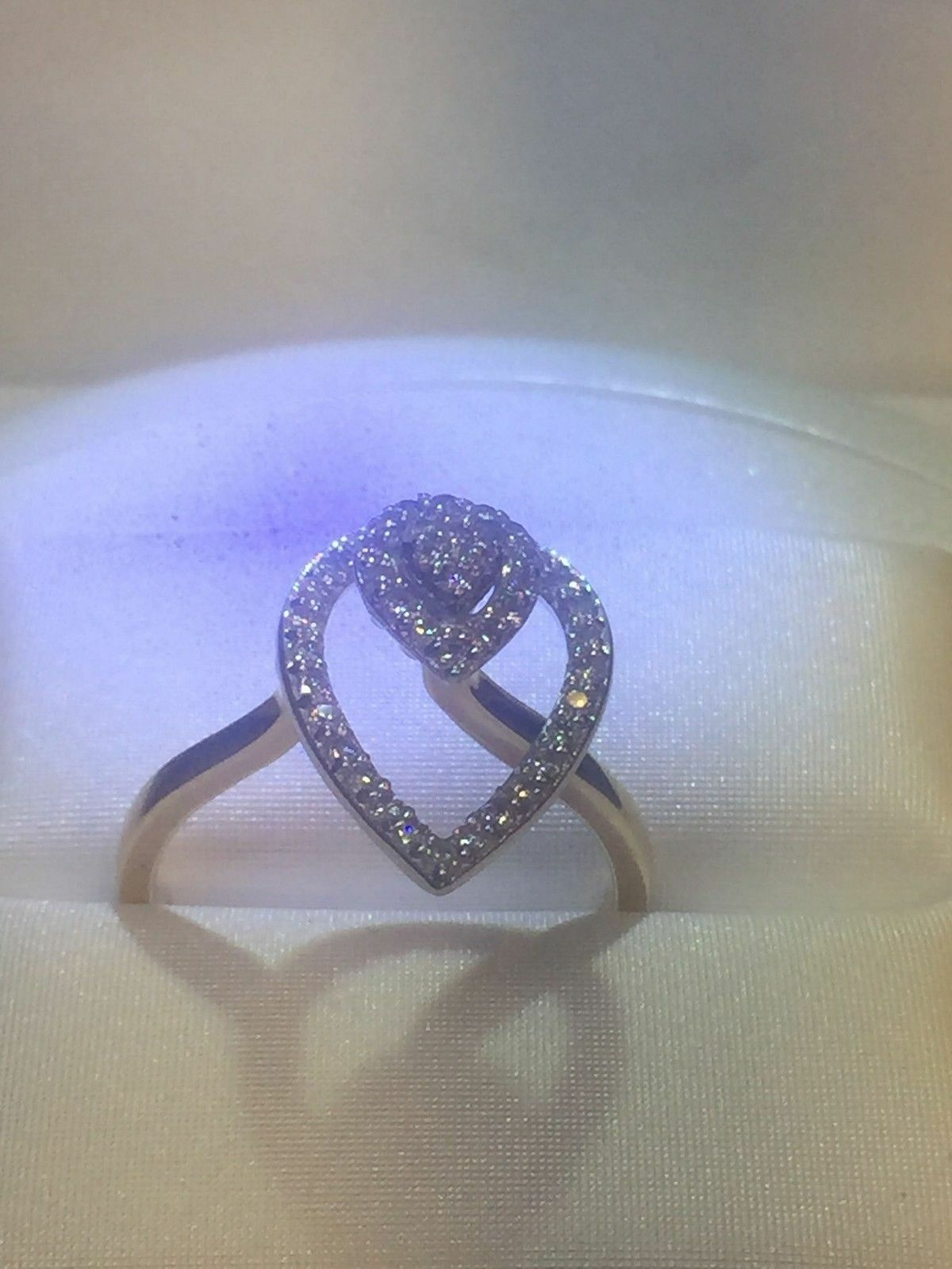 0.36 Cts Round Brilliant Cut Diamonds Tear Drop Ring In Solid Certified 14K gold