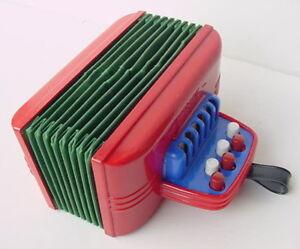 Vintage-Red-Magnus-Junior-Accordion-Child-Toy-Works-Harmonica-Corp-Newark-NJ-USA