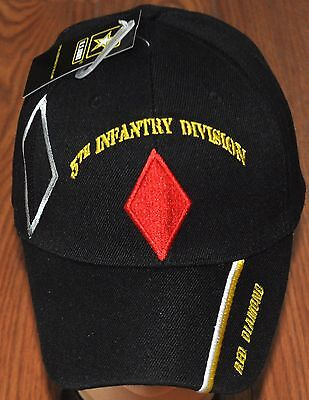 US Army 5th Infantry Red Diamond Military Black Embroidered Cap CAP572 Hat