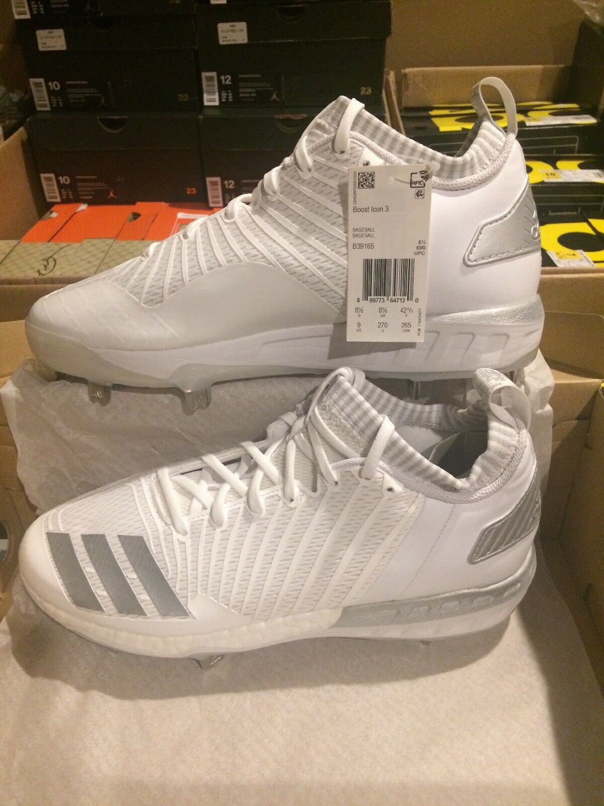 New   Adidas Boost Icon 3 Men's Size 12 Metal Baseball Cleats White - B39165