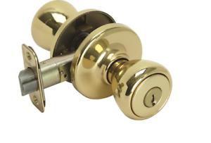 Kwikset 400T 3 RCAL RCS 94002-078 Tylo Keyed Entry Knob Polished Brass