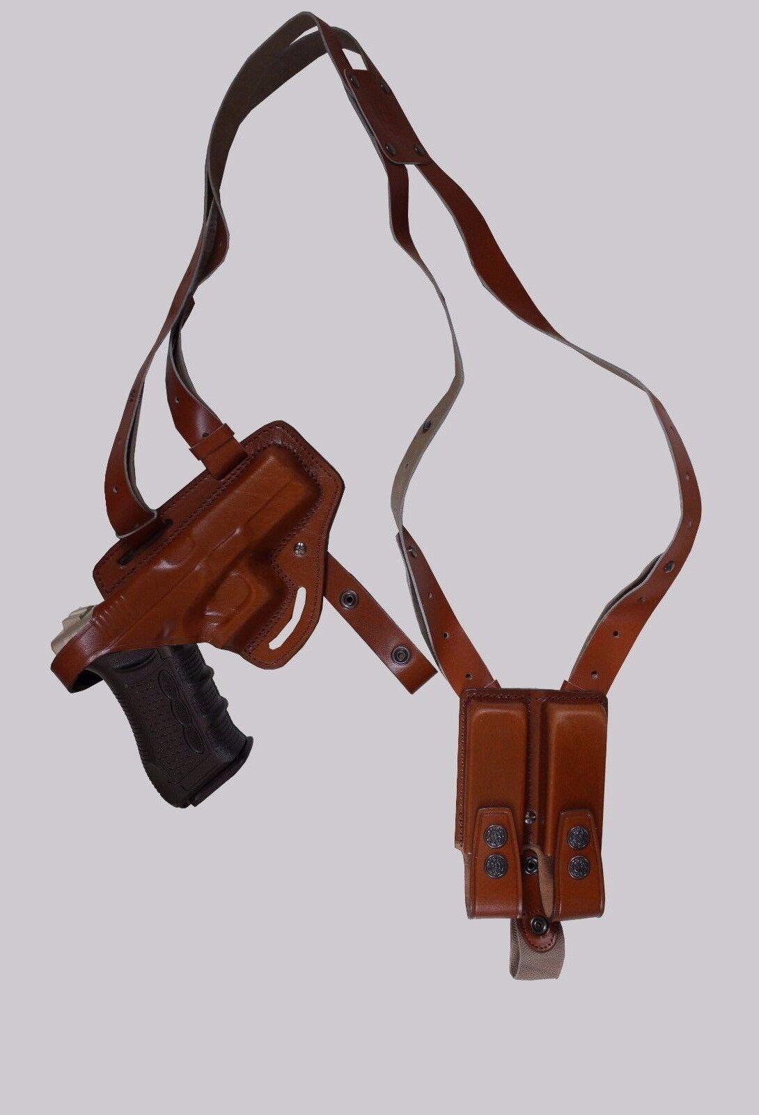 KHS339-23 Funda de Cuero de hombro y cinturón con doble bolsa del Mag Glock 23 (2in1)