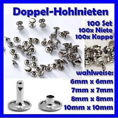 100 Stück Nieten Hohlnieten Doppel-Hohlnieten  6mm 7mm 8mm 10mm Industriequalitä