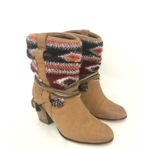 Steve-Madden-Womens-Size-7-5-Tolteca-Cognac-Leather-Southwest-Mid-Calf-Boots