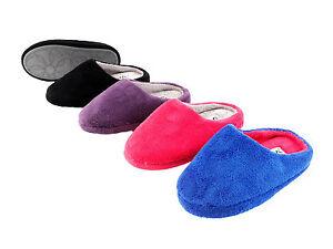 Damen-Kuschel-Hausschuhe-Pantoffeln-rutschfeste-Sohle-pink-lila-schwarz-blau