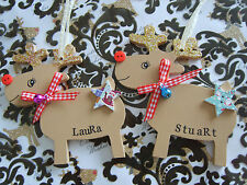 PERSONALISED Rudolph Reindeer Christmas Tree Decoration Keepsake Tags Gift