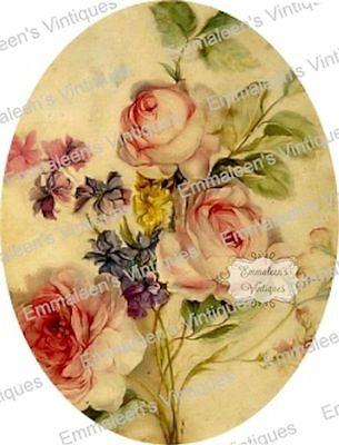 Vintage Image Victorian Antique Rose Oval Pattern Shabby Waterslide Decals FL483