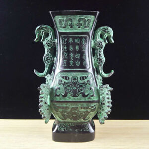Chinese-Antique-Bronze-double-dragon-vase-home-decoration