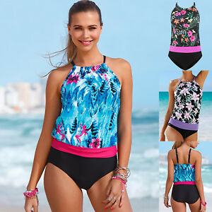 7d1e51669f Womens Floral Printing Tankini Sets Ladies Push Up Padded Swimwear ...