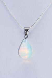 Silberkette mit Opal Tropfen-Anhänger