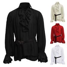Mens Black Ruffle Shirt Regency Gothic Prince Pirate Medieval Victorian Vampire