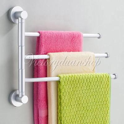 3-Arm/Bar Aluminium Bathroom Wall Mounted Towel Swivel Rack Rail Holder Hanger