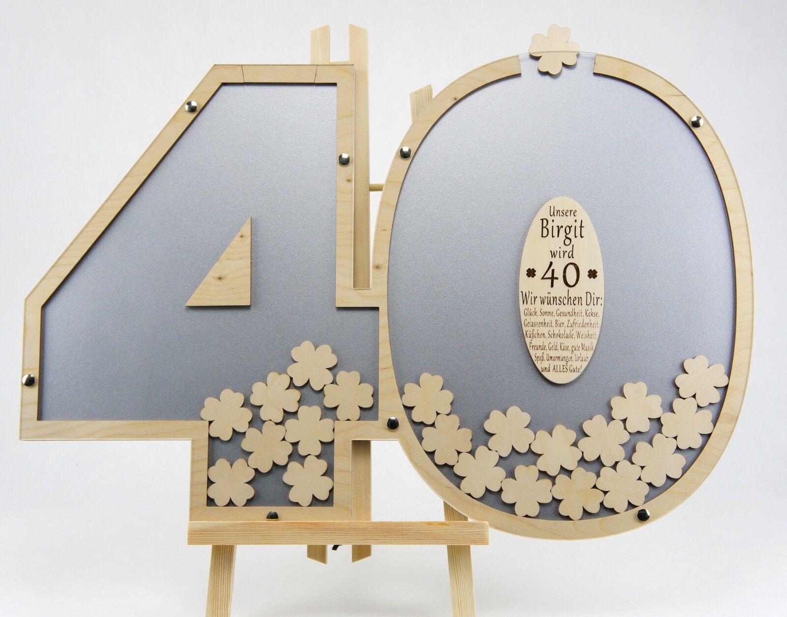 Gästebuch zum 40. Geburtstag Jahrestag Jubiläum m. Gravur in silber Kleeblätter | Modisch  | Realistisch