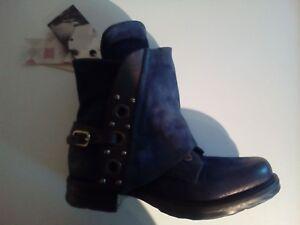 Details zu A.S.98 Airstep Damen Leder Stiefelette Reißverschluss blau braun Größe 36 NEU