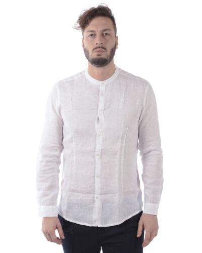 Camicia Daniele Alessandrini Shirt Lino Uomo Bianco C6371R3393701 2