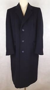 Mens-Blue-Overcoat-42L-Cashmere-Blend-Navy-Made-In-England-3-Button-Lined-Coat