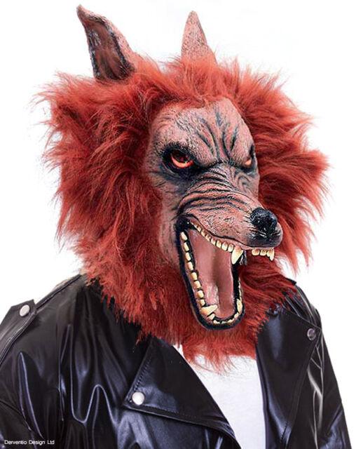 WEREWOLF MASK RED WOLF SCARY FANCY DRESS HALLOWEEN COSTUME LATEX & FUR HORROR