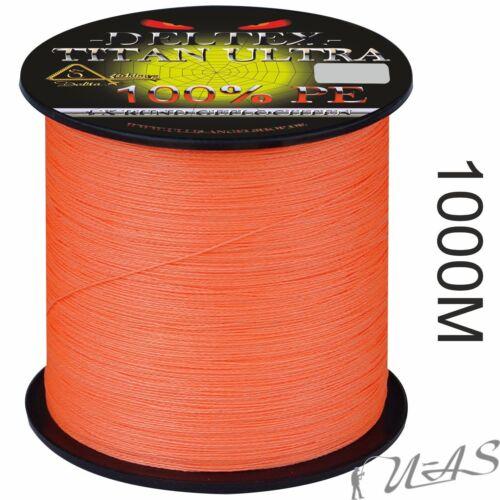 DELTEX Titan Ultra Orange 1000M 4 fach Rund Geflochtene Angelschnur 100/% PE
