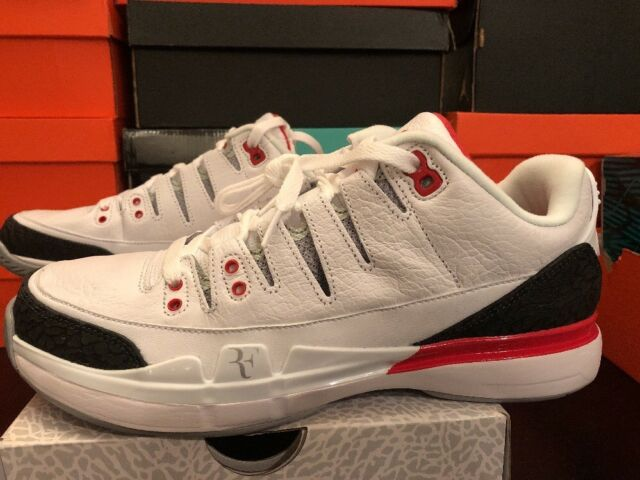 3098d3e35b0 Nike Tennis Zoom Vapor RF (federer) X Aj3 709998 White Fire Red Black Sz 7.5