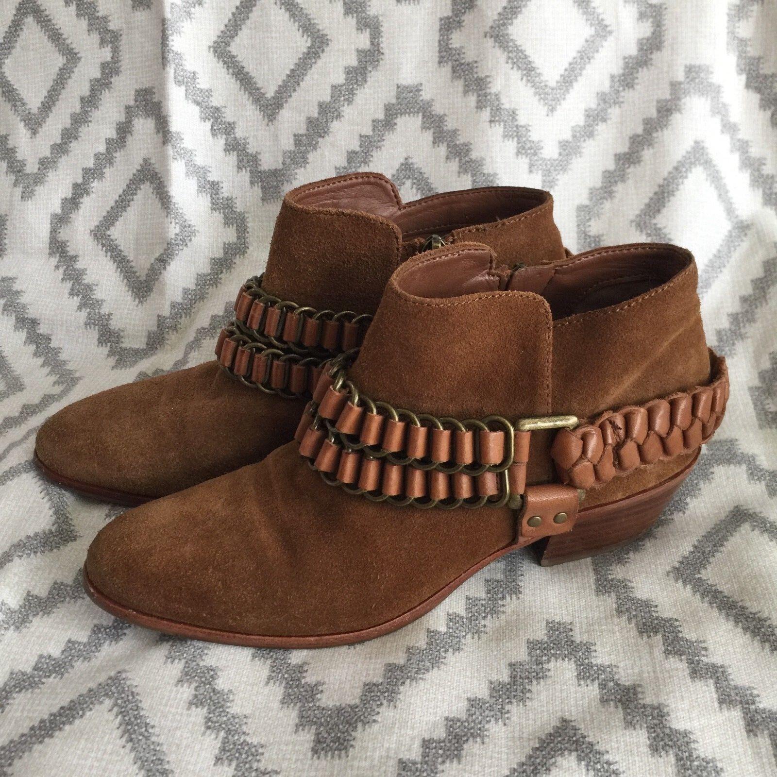 Sam Edelman Women's Posey Whiskey Saddle Suede Chain Strap Booties Size 6  z5