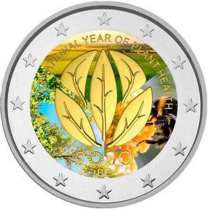2-Euro-Gedenkmuenze-Belgien-2020-coloriert-Farbe-Farbmuenze-Pflanzengesundheit-2