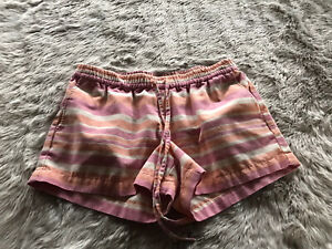 Kut from the Kloth Red and Orange Striped Drawstring Waist Shorts Women's 4