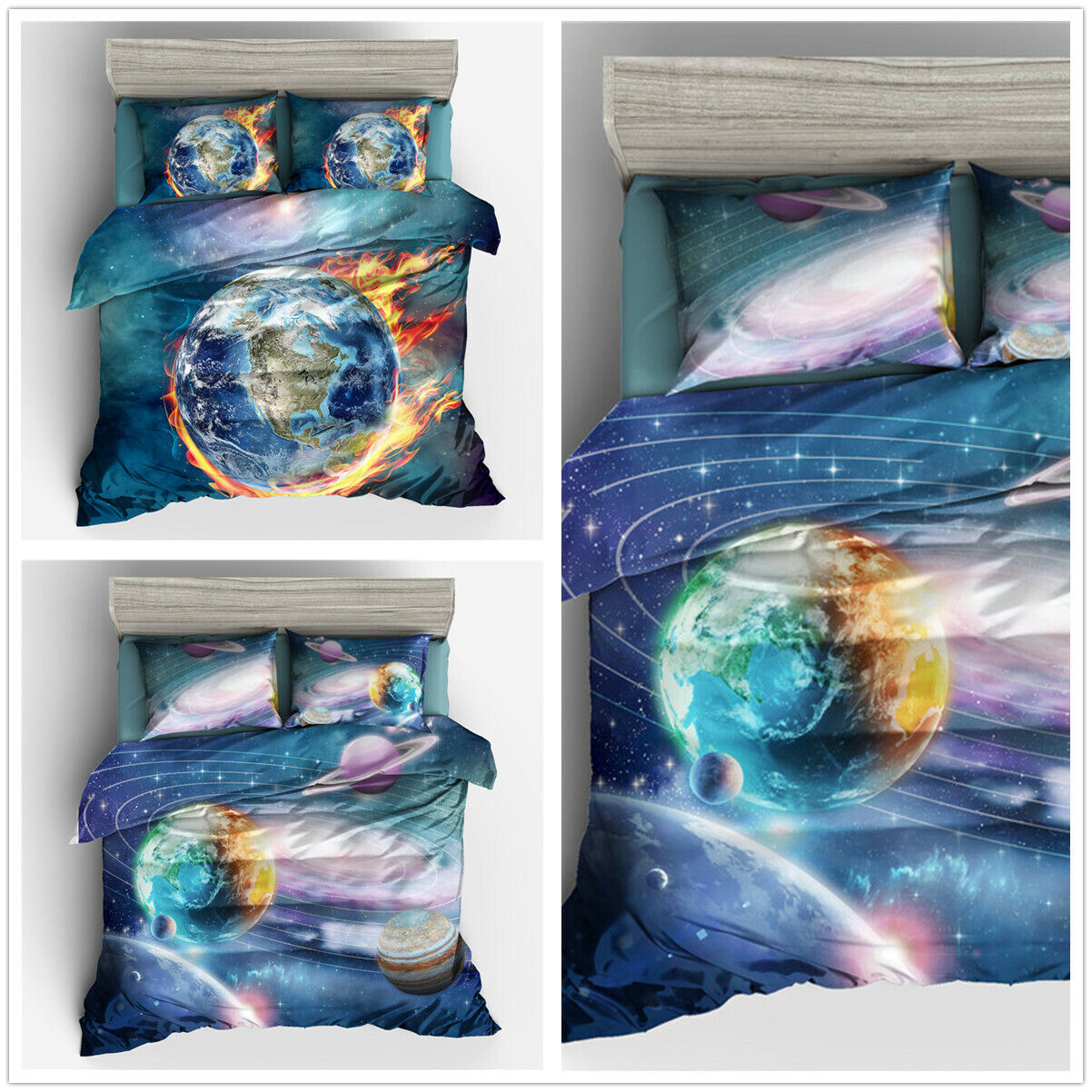 3D Earth Planet Duvet Cover Bedding Set Pillowcase Quilt Cover Comforter Cover