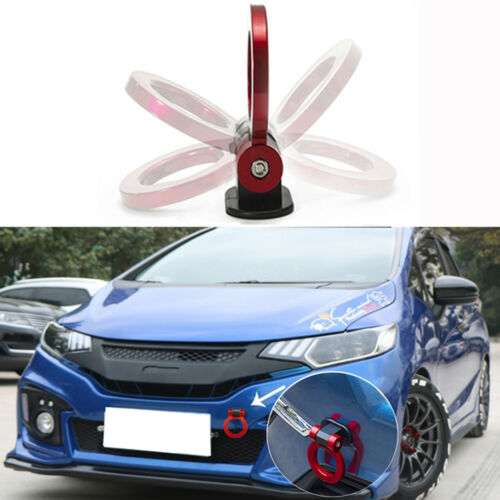 1x JDM Red Sport Racing Car Fake Trailer Ring Tow Hook Trim Decoration Universal