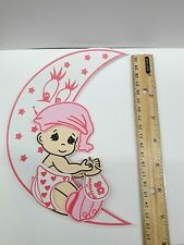 """7"""" Cute Baby Shower Baby on Moon in Pink FOAM for decoration-Girl 10 pcs-"""