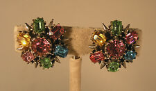 1950's Signed Coro Multi Pastel Rhinestone Flower Button Screwback Earrings