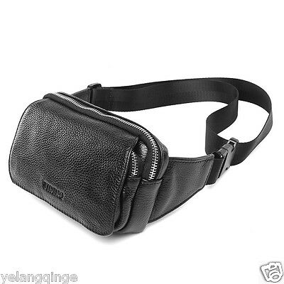 Real Leather Fashion Fanny Waist Pack Men Mini Cool Shoulder Bag Backpack Travel