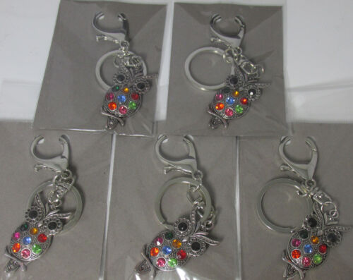 5 Multi Coloured OWL Key Rings,Bag Charms Wholesale Job Lots FREE 1st CLASS P/&P