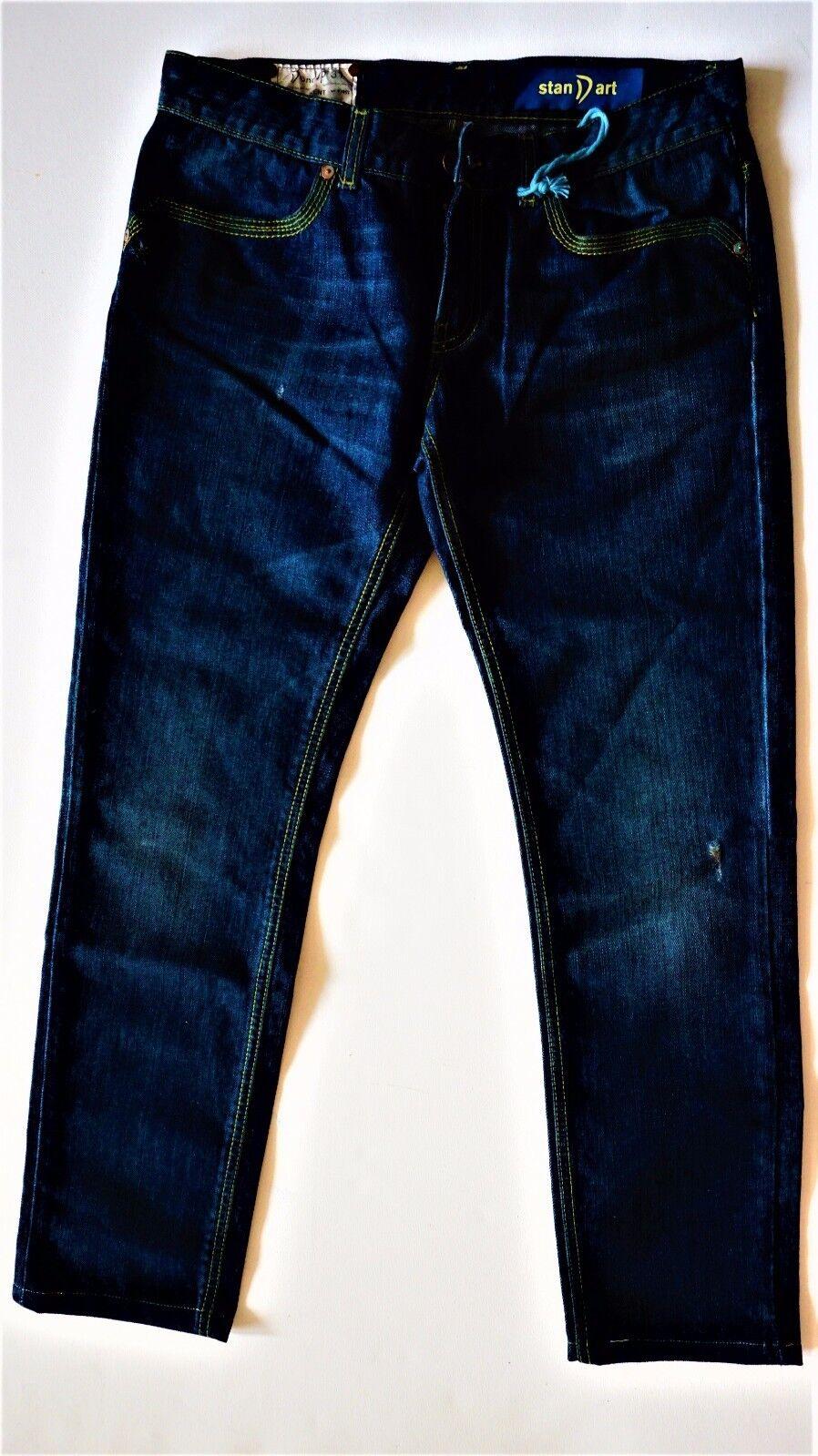 Dondup Standart Kent Herren Jeans Blau Rein Baumwolle Destroyed Wasch Große; 31