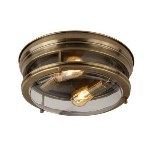 Edinburgh 2Flammige Deckenbündige Leuchte Antik Messing//Klarglas Ip44 plattiert