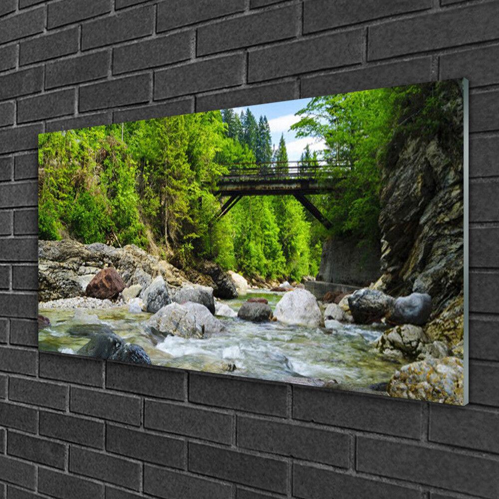 Image sur verre Tableau Impression 100x50 Paysage Forêt Pierres Pont Lac