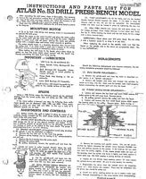 1946 Atlas Model 53 Drill Press Instructions And Parts Instructions