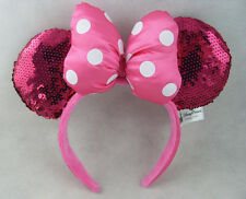 New Disney Parks Minnie Mouse Pink Dot Bow Sequins Ear Headband Costume Party