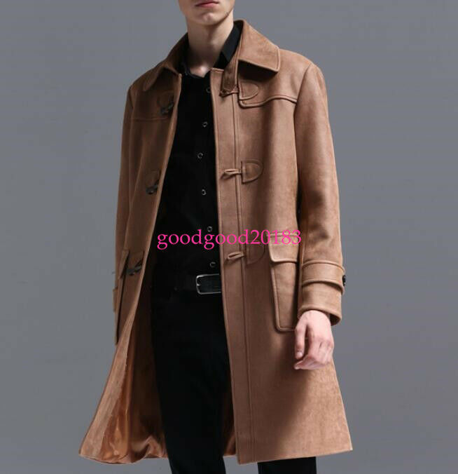 Mens Mid Long Suede Leather horn button Duffel Retro Toggle College Coat Parka