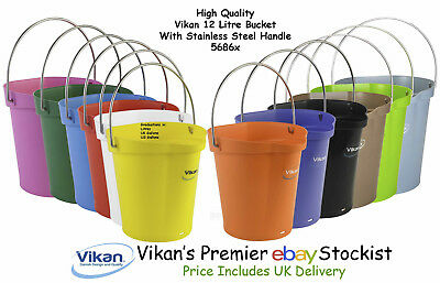Vikan High Quality 12 Litre Bucket Pail With Stainless Steel Handle 56861-88 Home & Garden