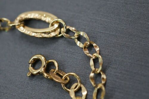 #0517136 14K Solide Or Jaune Belle Fancy Cut creux Lien Chaîne Bracelet.