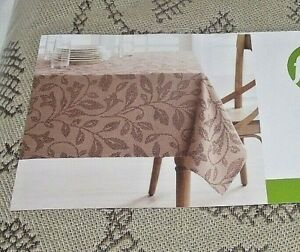 Food-Network-Woven-Tablecloth-60-034-x-102-034-Rectangle-Oblong-Tan-Boxwood-Leaf-NIP