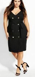 CITY-CHIC-Dress-Plus-Size-16-18-20-22-RRP-129-95-Black-Midi-Deep-V-Neck