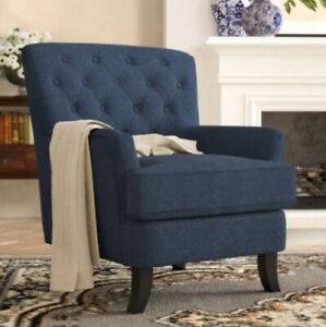 Details about Navy Blue Tufted Accent Armchair Arm Chairs Fabric Chair  Living Room Furniture