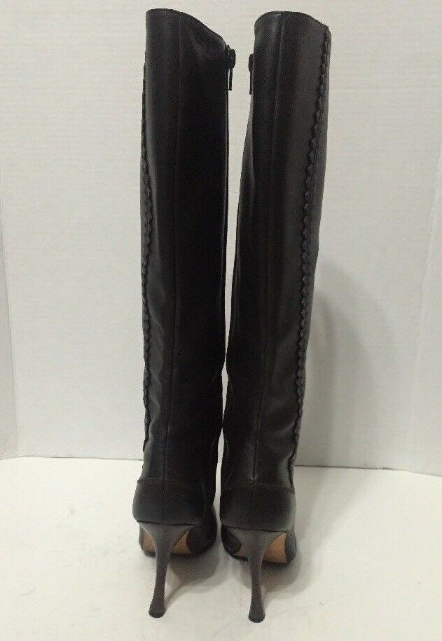 Manolo Blahnik Knee High Boots Brown Leather Womens Size Size Size 6.5 Made In  6c5f9a