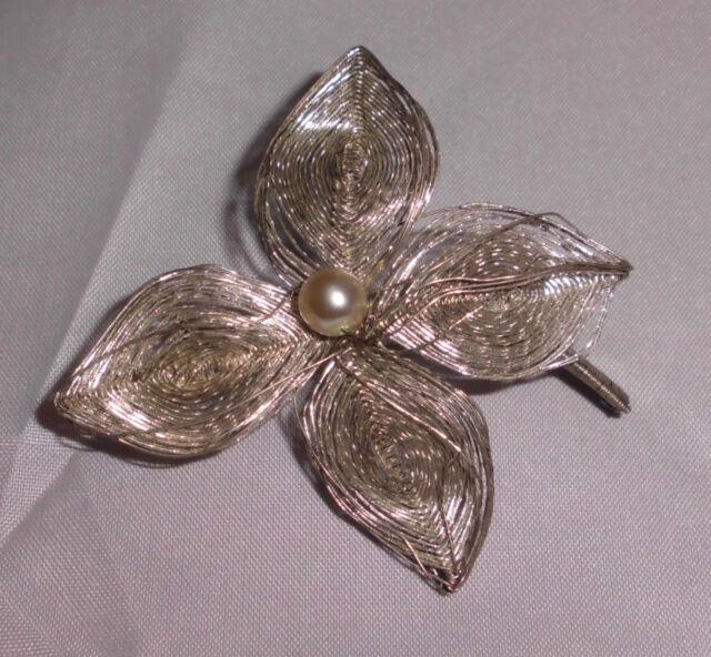 Vintage Silver Tone Wire Faux Pearl Flower Pin Brooch