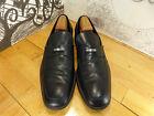Ermengildo Zegna Black Leather Loafers Men's 12D Made in Italy